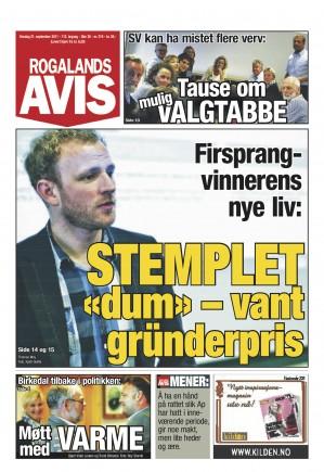 Thomas Moy på Rogalands Avis fremside